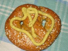 spelt pretzel with mustard