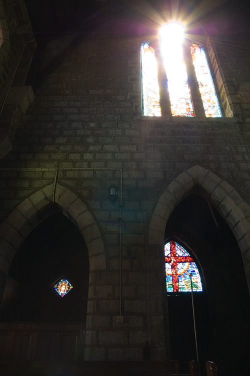 Light and stained glass.