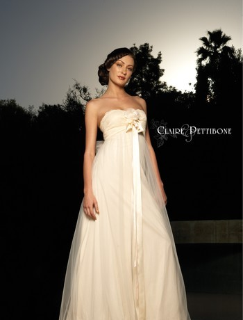 empire wedding dress gown with long sash