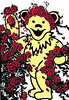 Grateful Dead dancing bear and roses