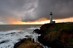 Before Raining (miltonsun) Tags: raining pigeonpointlighthouse northerncalifornia shore lighthouse dusk highway1 seascape wave ocean westcoast sanmateocounty pacificocean rollinghills sunset landscape clouds sky seaside coast rocks outdoor
