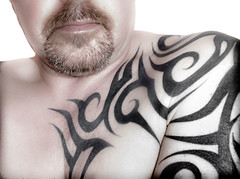 Dark Tribal (CWhatPhotos) Tags: olympus epl1 elp1 four thirds digital camera 1442mm view photo photos pics picture pictures pic image images foto fotos that have with which contain self portrait colour me cwhatphotos tattoo tattoos tattoed inked tribal tattooed ink body art upper arm shoulder arms chest beard goatee dark flickr