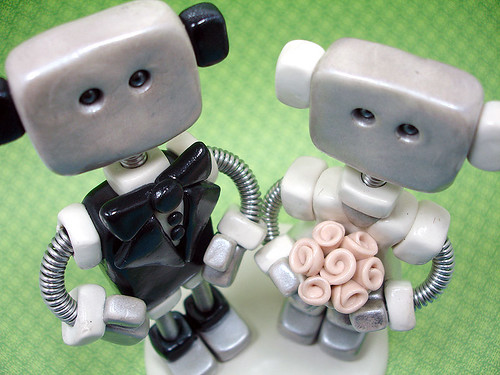 Robot Wedding Cake Topper | Thin Square Style by HerArtSheLoves