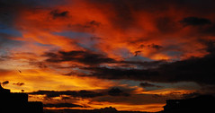 a space thing (phishpot) Tags: light red sky orange color beauty clouds october heaven cityscape dusk dream drama calcutta