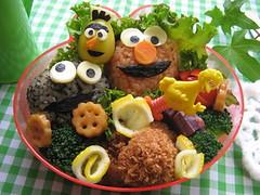 Sesame streeet bento (luckysundae) Tags: elmo bert sesamestreet kawaii cookiemonster bentobox obento japanesebento