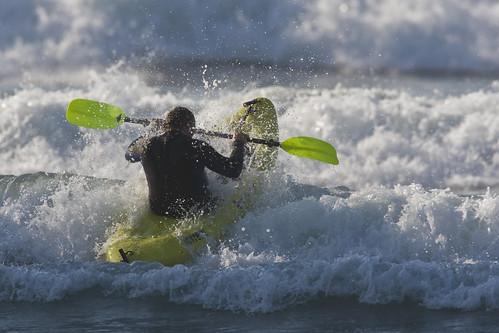 Surf Kayaker at Morro Rock, Morro Bay, CA