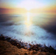 i have heard the mermaids singing (manyfires) Tags: ocean california sunset sea waves pinhole pacificocean zero2000 zeroimage sunsetcliffs palabra omw