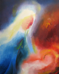 The Holy Mother & Child. Christmas Day 2004 by Stephen B Whatley (Stephen B Whatley) Tags: christmas art love 2004 painting artist peace christ mary prayer jesus halo holy expressionism manger sensational virginmary motherchild tenderness oilpainting babyjesus christmasday madonnaandchild anawesomeshot stephenbwhatley