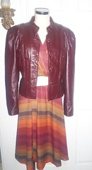 fitted leather jacket with dress (panache*) Tags: green vintage forsale thrift recyled