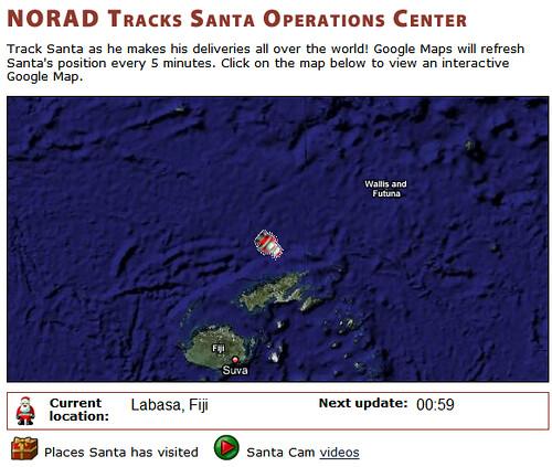 Digital Fiji Norad Tracks Santa Over Fiji