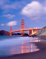 Baker Beach Sunset (Forget Me Knott Photography) Tags: ocean sanfrancisco california bridge sunset sea sky reflection water night clouds lights golden coast twilight sand gate waves dusk shore brianknott forgetmeknottphotography fmkphoto