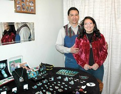 Dean and Elise Adams create and sell Native American jewelry through their business, Creative Natives. (Photo by RANDY PARKSº