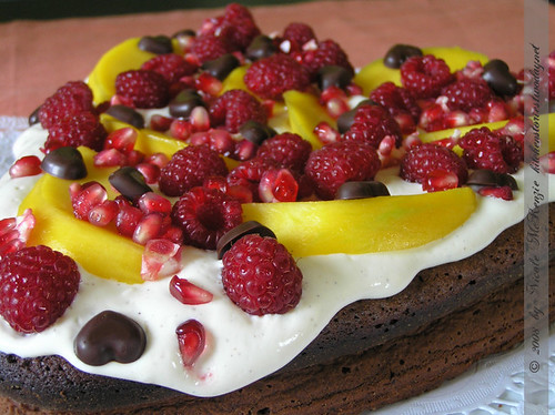 Chocoholic Cake with Mango and Pomegranate 2