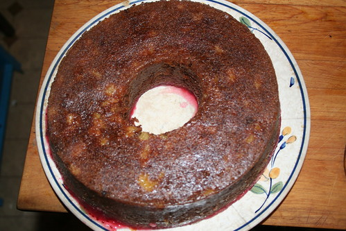 warm applesauce cake with cranberry syrup