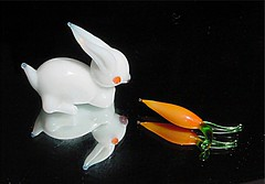 Minirabbit  carrot (marcoswed) Tags: orange black reflection rabbit glass animal miniature mini cm carrot 2cm minirabbit miniaturerabbit minicarrot miniaturecarrot