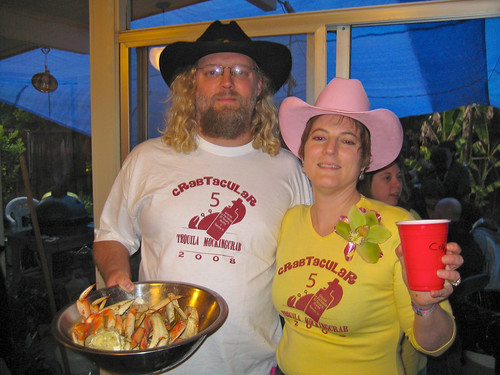Christine & Bill serving Crabs & Tequila