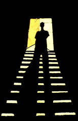 who (jean--) Tags: door new trip travel light shadow vacation sunlight india holiday man black art silhouette mystery fun long jean who steps perspective human hues mysterious clueless rhythm