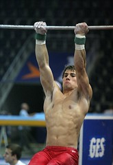Fabian Leimlehner - high bar training 1 (roflmeter) Tags: red shirtless male college sports pits muscle chest ripped young hunk gymnast gymnastics fabian gym abs sixpack defined parallelbar pommelhorse highbar artisticgymnastics stillrings fabianleimlehner leimlehner