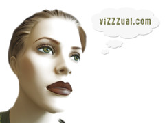 ホームページのヴィジュアルについて考える女性