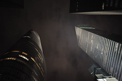 metropolis (davidteter) Tags: nyc newyorkcity nightphotography architecture night buildings skyscrapers manhattan iso3600 sooc nikon28mmf28ais nikond3 nyccamerageekout