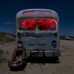 Bucket Express (Lost America) Tags: lightpainting bus abandoned night gm fullmoon junkyard highway395 nocturnes pearsonville