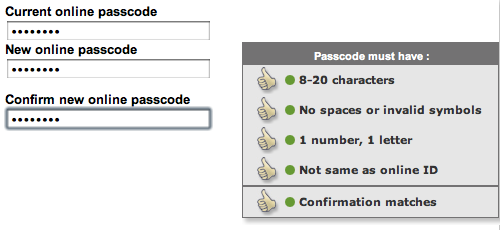 Password strength indicators during passcode change
