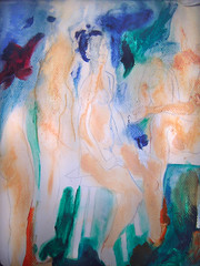 Women In Spring - detail of first wash of paint