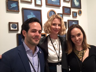 Art Bastion Gallery director Sebastiano Varoli with curator Nico Kos and the Hue Gallery founder Mali Parkerson at the VIP opening of art Wynwood