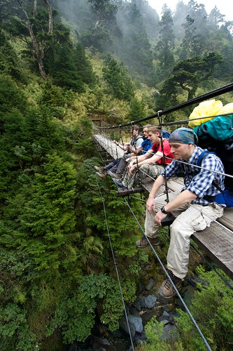 NengGao Hiking Trail - Hikers Sitting on a Suspension Bridge