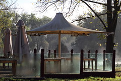 Umbrellas (blachswan) Tags: morning autumn mist sunrise australia victoria dew umbrellas ballarat lakewendouree pipersbythelake