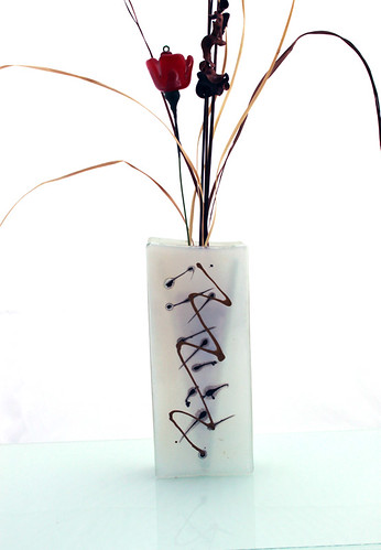 Geometric gold shapes on white Fused glass vase by virtuly art in glass