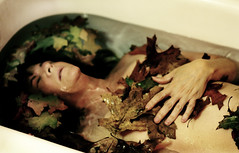autumn arrives, and i fall. (tamelyn) Tags: selfportrait fall me water self sad falling bathtub submerged someoneoncetoldmeyoucantdivorceyourselffromnature everyautumnifall butheytheleavesarepretty myhandsarehugewhyaremyhandssohuge okithinkiwillthanks imissthelight itsreallyhardtotakeashotofyourselfwhileyoureunderwater andstillkeeptheleavesstrategicallyinplace heytamwhydontyouhaveanotherbeer