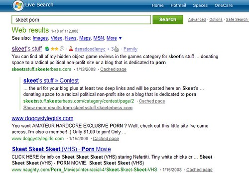 "I entered the term ""skeet porn"" into the same search engine:"