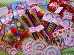What I Gave: FAA Lucky Parcels Rainbows ~ Unwrapped (Pinks & Needles (used to be Gigi & Big Red)) Tags: wood sticks buttons tags pins fabric flannel rainbows sent skittles pompoms pipecleaners woodensticks faaluckyparcels