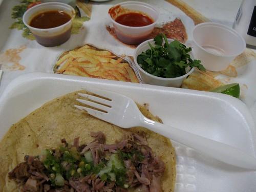 Carnitas taco with salsas