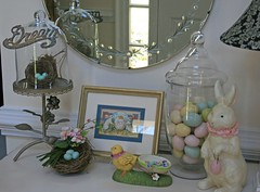 entry table (suzanneduda) Tags: etched bunny bird easter mirror paint nest pastel eggs ribbon dresser entry millinery shabbychic