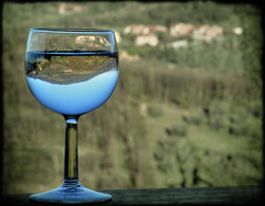 Some Tuscany in My Glass (Firenzesca) Tags: italy reflection glass landscape italia upsidedown tuscany toscana bicchiere vetro riflesso glasscape mywinners diamondclassphotographer flickrdiamond dragongoldaward