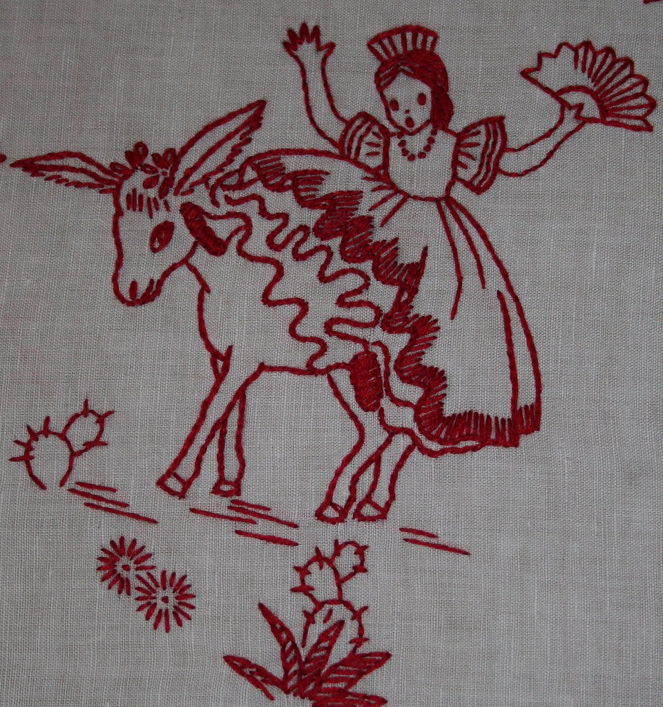 Finished mexicana redwork for mom, girl falling off a burro