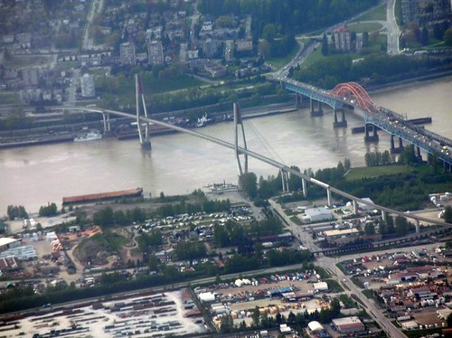 New Westminster Fraser Bridges aerial
