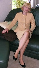 beige suit (Marie-Christine.TV) Tags: woman lady tv feminine tgirl business suit transvestite secretary elegant feminin businesswoman kostm mariechristine skirtsuit sekretrin womans