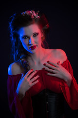 Destiny in Blue and Red (Notley) Tags: lightpainting red blue light model portrait httpwwwnotleyhawkinscom notleyhawkinsphotography notley notleyhawkins 10thavenue 2017