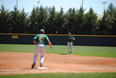 THROW FROM SECOND. (SneakinDeacon) Tags: acc baseball miami ncaa vt hurricanes blacksburg virginiatech hokies englishfield