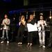 DSC02210 - Die Jury (v.l.n.r.): George FR, Janosch von Radio Bob, Boris von RMTV und Wolfgang Lücke von der Musikmesse. In der Mitte Viola von der FR und Claudia von Binding
