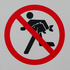 Caution: No Running with Fish (Richard and Gill) Tags: fish sign notice stickman stickfigure warningsign leavalley leevalley healthandsafety hooksmarsh riverleecountrypark