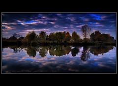 The Village (szefi) Tags: autumn sky lake reflection fall clouds sunrise landscape hungary canon350d soe hdr waterscape flickrsbest ultimateshot theperfectphotographer ostrellina