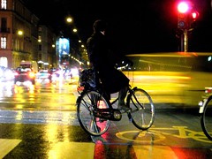 Bicycle Night (Mikael Colville-Andersen) Tags: girl fashion bike bicycle night copenhagen lights style gear cycle bikelane chic   bikeporn streetfashion     streetstyle girlsonbikes  cyclechic speed copenhagencyclechic fixedgearissoooolastcentury zakkadk chic advocacy velopassioncc