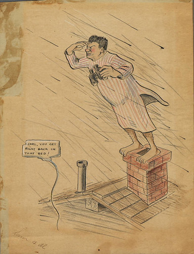 Caricature of Carl Leavitt Hubbs when illness prevented him from taking the whale census