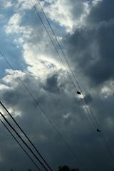 cielo+pajaros+lineas (Analía Acerbo Arte) Tags: cables pajaros cielo nubes lineas