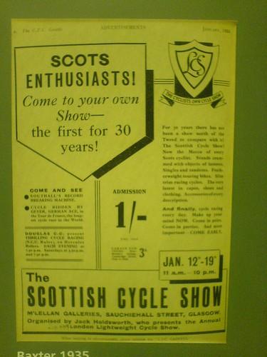 Bike Show Poster 1935 Glasgow