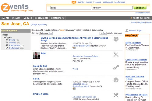 Zvents federated local search page
